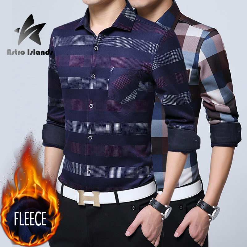Men s Fleece Thicken Shirts 2016 Winter Fashion Plaid Long sleeve Dress shirts font b Tartan