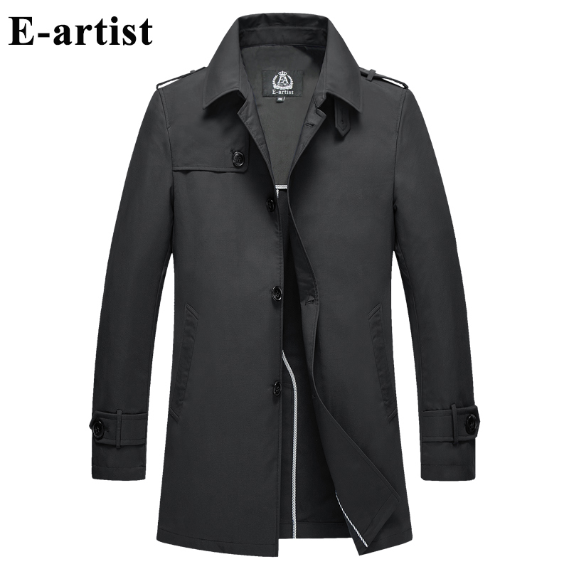 E-artist Long   Trench   Coat Mens Slim Fit Casual Windbreaker Jackets Outerwear Overcoats For Spring Plus Size 5XL F06