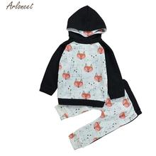 2017 FASHION Toddler Boy Girl Baby Fox Printing Sweater Hoodies Tops Pants Set Clothing  Y110230