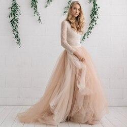Neue Mode Braut Tüll Rock Champagner Nude Ivory Hochzeit Röcke Personalisierte Tiered Schichten Lange Maxi Rock Custom Made