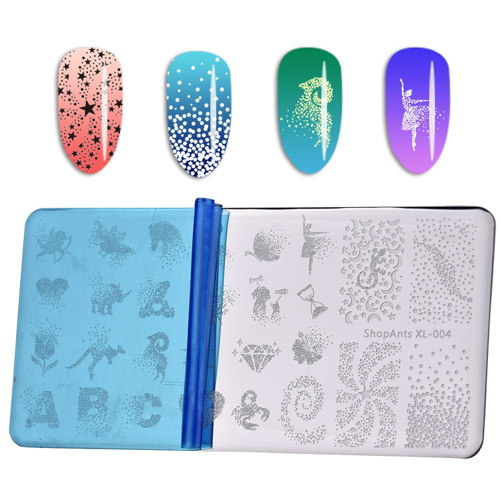 Image 2 - Stainless Steel Nail Stamping Plates Stencil ABC Dot Rose Heart Fantasy Starts Nail Art Stamping Plate Diamond Print Templates-in Nail Art Templates from Beauty & Health