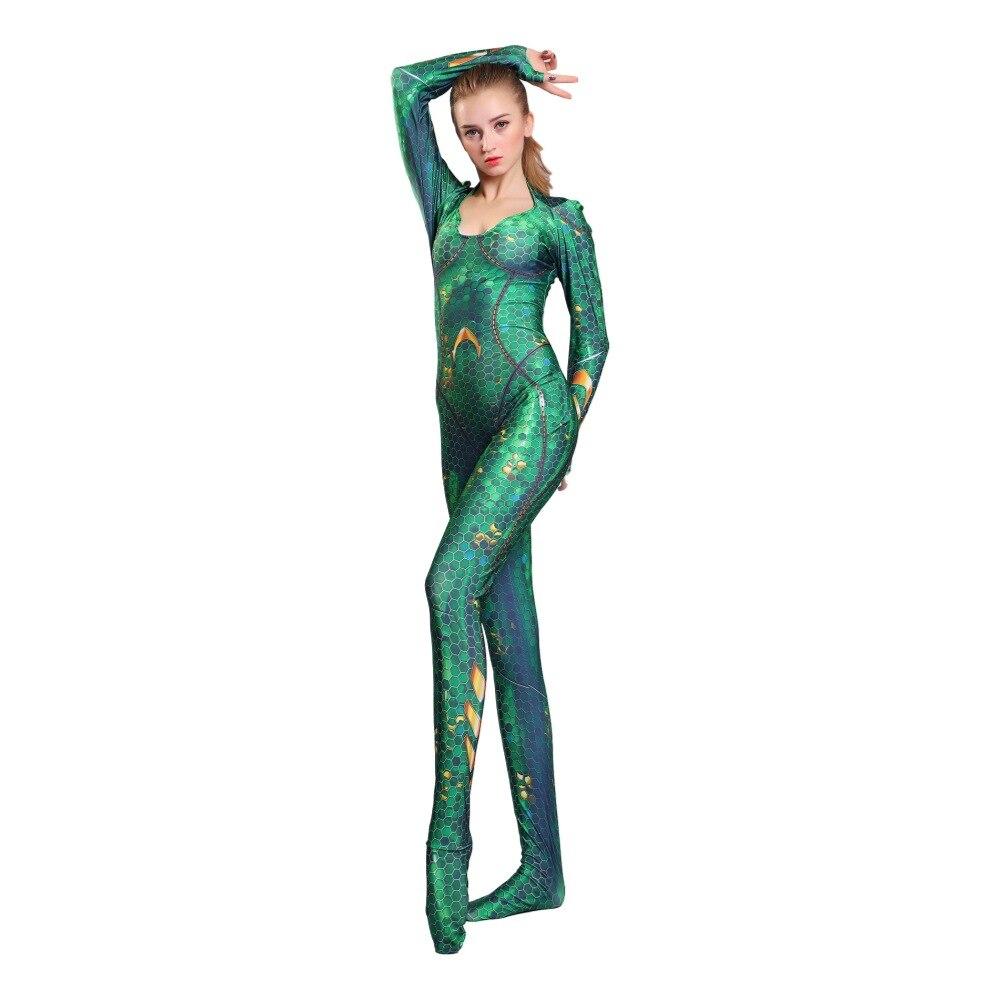 Aquaman Costume for Adult Amber Heard Queen Mera Bodysuit Justice League  Halloween Cosplay Zentai Jumpsuits large size