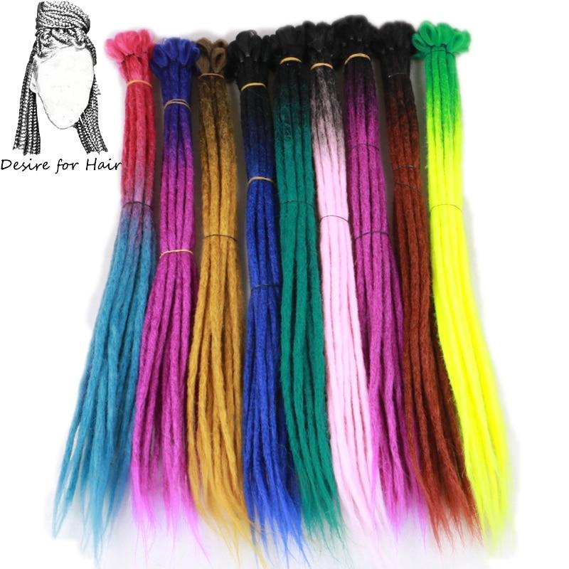 Desejo para o cabelo 1 vertente cores 20 96 polegada dreadlocks sintéticos extensões do cabelo hop crochet trança ombre cor do cabelo da trança