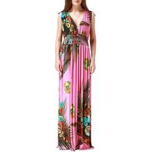 Robe femme ete 2017 Femmes D'été Bohème Plage Robe Col En V Sexy Dos Ouvert Sans Manches Floral Longue Maxi Robe Grande Taille 7XL robe
