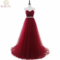 100% Real Images Elegant Dress Women for Wedding Party Burgundy Sweetheart Long Dresses Evening Wine A Line vestidos mae de noi