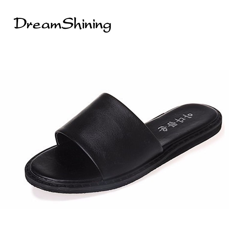 d5d91a68703 DreamShining Summer High Quality Pu Leather Shoes Women Slipper Flat White    Black Open Toe Ladies Slippers-in Slippers from Shoes on Aliexpress.com  ...