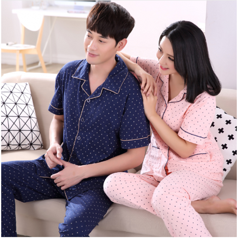 Summer Couples Homewear Female Casual Cotton Pajama Sets Women Turn-Down Collar Coat + Pants Ladies Print Sleepwear Suit