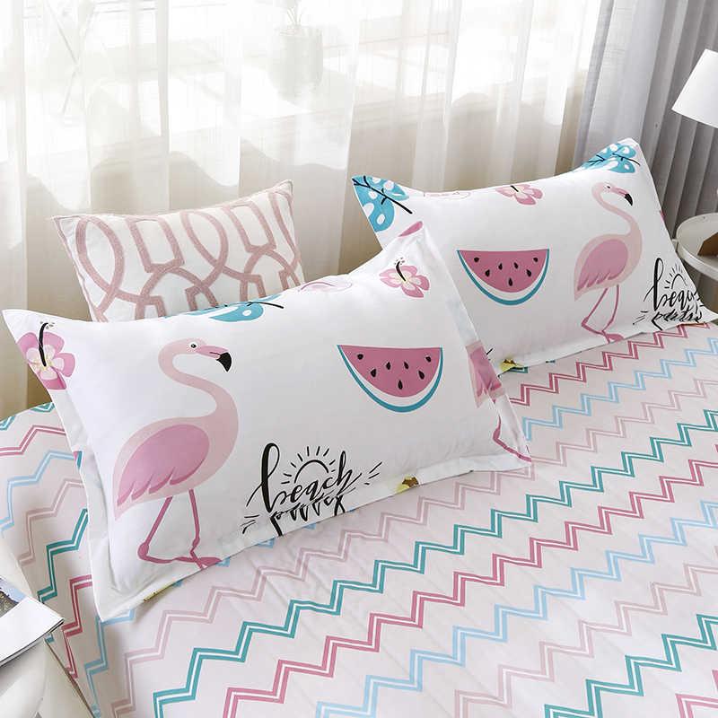 Набор постельного белья из 100% полиэфирного волокна с цветным рисунком Фламинго 4 шт. постельное белье пододеяльник простыня накидка для подушек набор