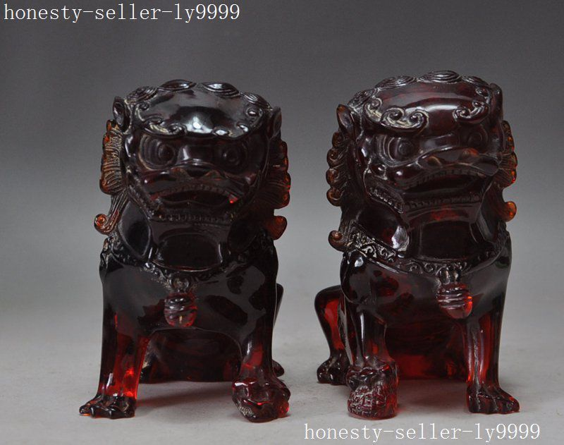 Collection old Man-made Amber Resin Carving Evil Guardian Fu Foo Dog Lion Pair