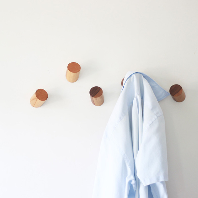 Natural Wood Coat Hook Wall Mounted Clothes Hangers Scarf Hat Bag Simple Wooden Coat Hook Rack