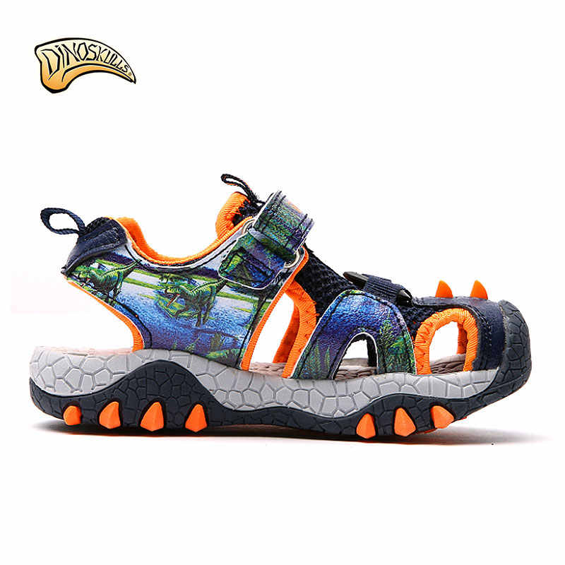Dinoskulls ילדי סנדלי בני בנות עור אמיתי נעלי דינוזאור אור עד Led קיץ נעלי ילדי חוף סנדלי בני מחוון 27 -32