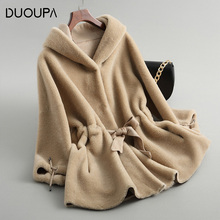 DUOUPA Real Fur Coat Sheep Shearing Lamb Coats 2019 Winter Women Wool Jacket Hooded Tops  Long Korean