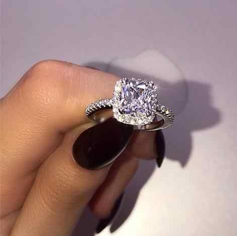 แฟชั่นคริสตัลรูปหัวใจงานแต่งงานแหวน Rose Gold elegant หมั้นแหวน Zircon silver สี Glamour ของขวัญเครื่องประดับ