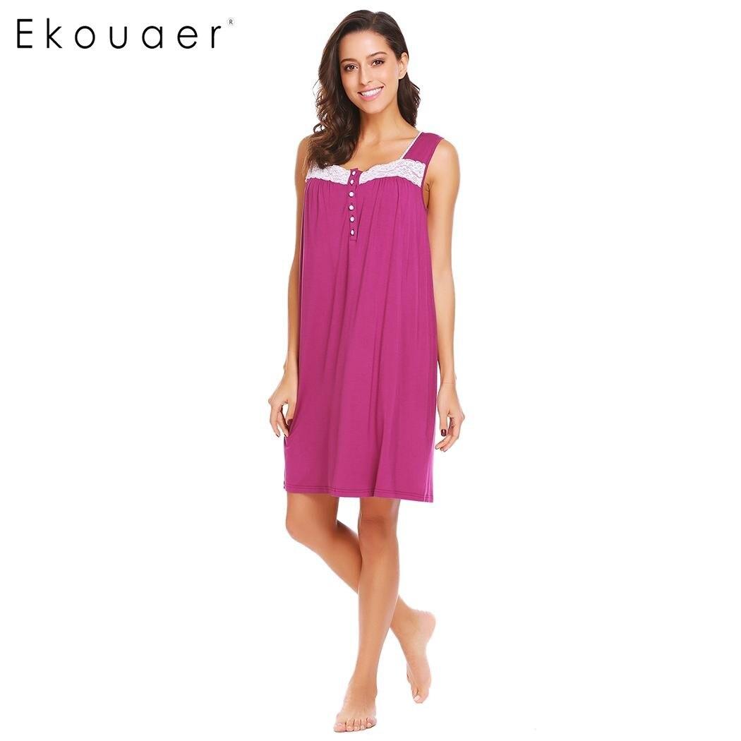 Ekouaer Women Casual Nightdress Square Collar Sleeveless Lace Sleepwear Patchwork Loose Nightgown Sleepshirt Female Sleep Dress