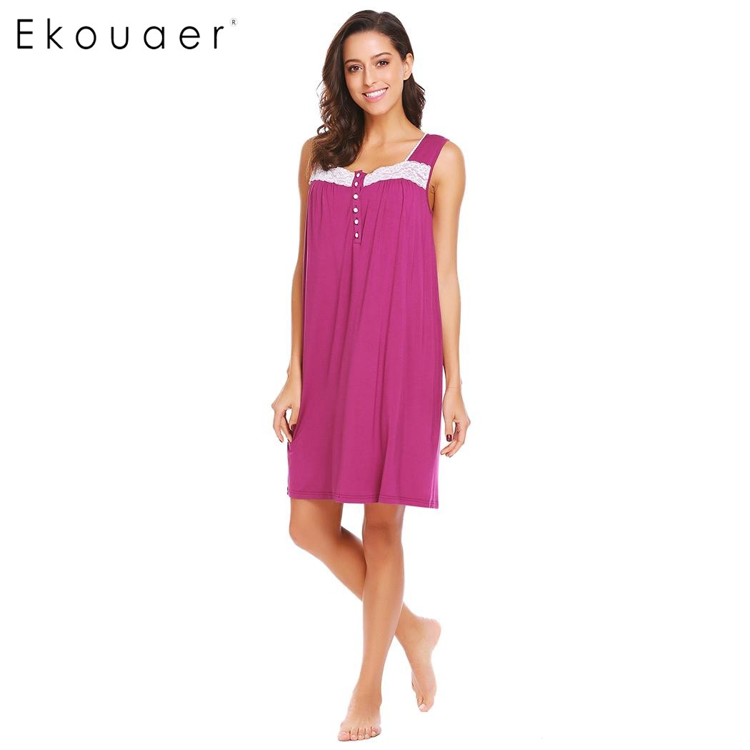 Ekouaer Women Casual Nightdress Square Collar Sleeveless Lace Sleepwear Patchwork Loose   Nightgown     Sleepshirt   Female Sleep Dress