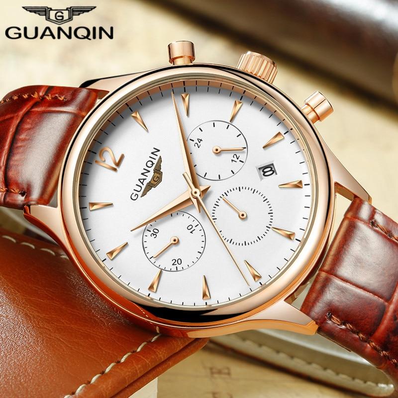 Prix pour Mens Montres Haut Marque De Luxe GUANQIN Mode Quartz Montre Homme Militaire Sport Horloge Bracelet En Cuir Montre-Bracelet relogio masculino