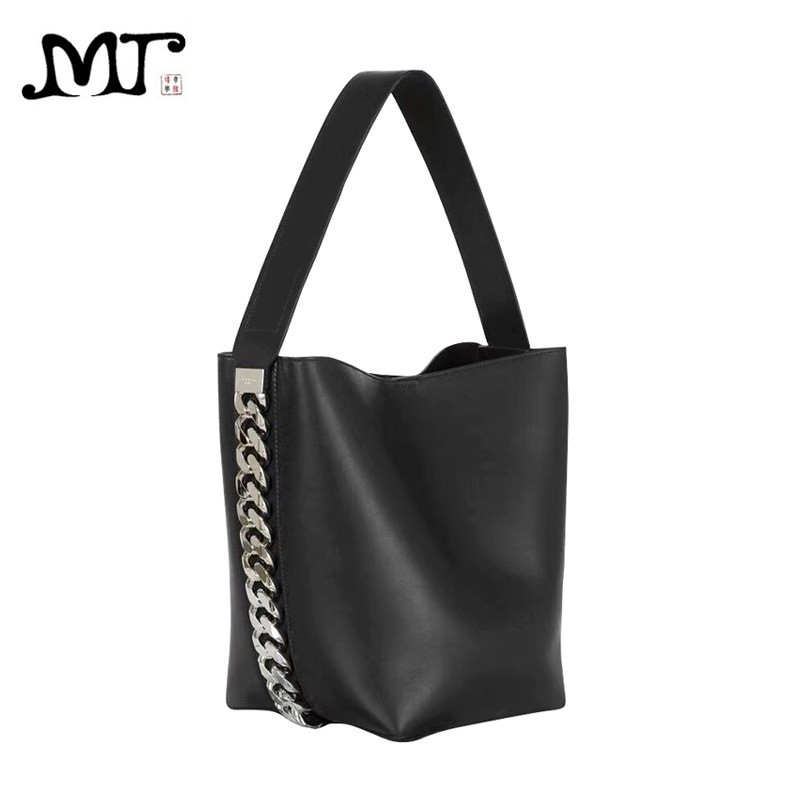 MJ Women Chain Bucket Bag Female Simple Fashion Leather Handbag PU Shoulder Bag Big Leather Tote Large Capacity Composite Bags 2018 fashion women handbag pu leather women bag large capacity tote bag big ladies shoulder bags