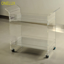 ONE LUX Rolling Lucite Serving Bar Cart,Acrylic Trolleys With Wheels Mirror Trays KD Packed цены онлайн
