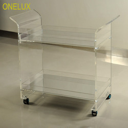 ONELUX Rolling Lucite Serving Bar Cart,Acrylic Trolleys With Wheels Mirror Trays -Flat Packed