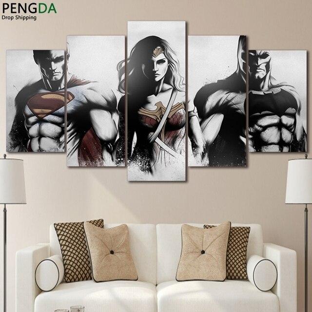 Canvas vẽ tranh Tường Khung Nghệ Thuật Trang Chủ Trang Trí In Hiện Đại Poster 5 Cái Batman V Superman Bình Minh Của Công Lý Hình Ảnh Mô-đun PENGDA