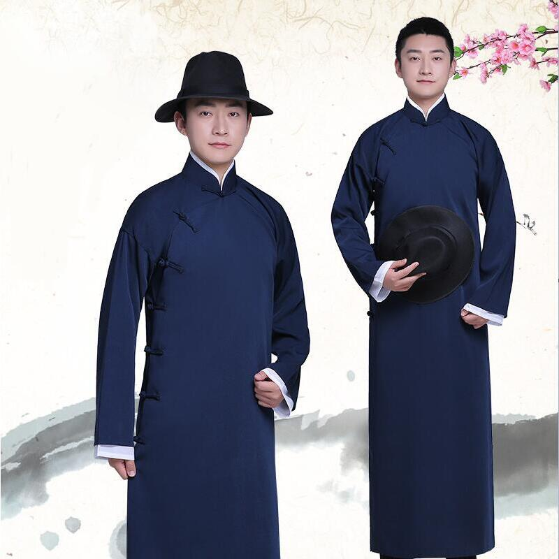 New arrival male cheongsam Chinese style costume cotton Male Mandarin jacket long gown traditional Chinese Tang suit dress men in Robe Gown from Novelty Special Use