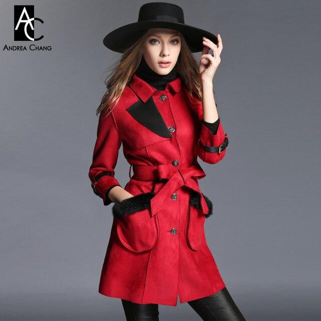 2015 осень зима женская дизайнерская верхняя одежда пальто траншеи хаки красный искусственной кожи с поясом мех карман модного бренда пальто траншеи