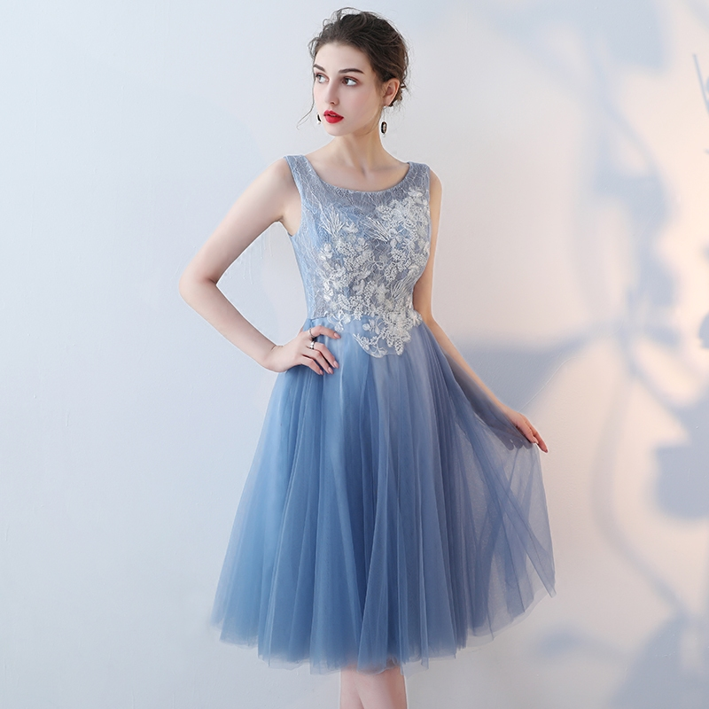 Short SKY BLUE knee length sweat lady girl women princess bridesmaid  banquet party dress gown -in Dresses from Women s Clothing on  Aliexpress.com  c42bb4421d1d