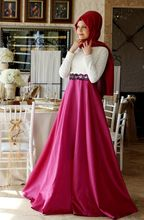 A-line With Hijab White and Pink Lace Muslim Dress Women Elegant High Collar Casual Muslim Long Sleeve Evening Dress Turkish