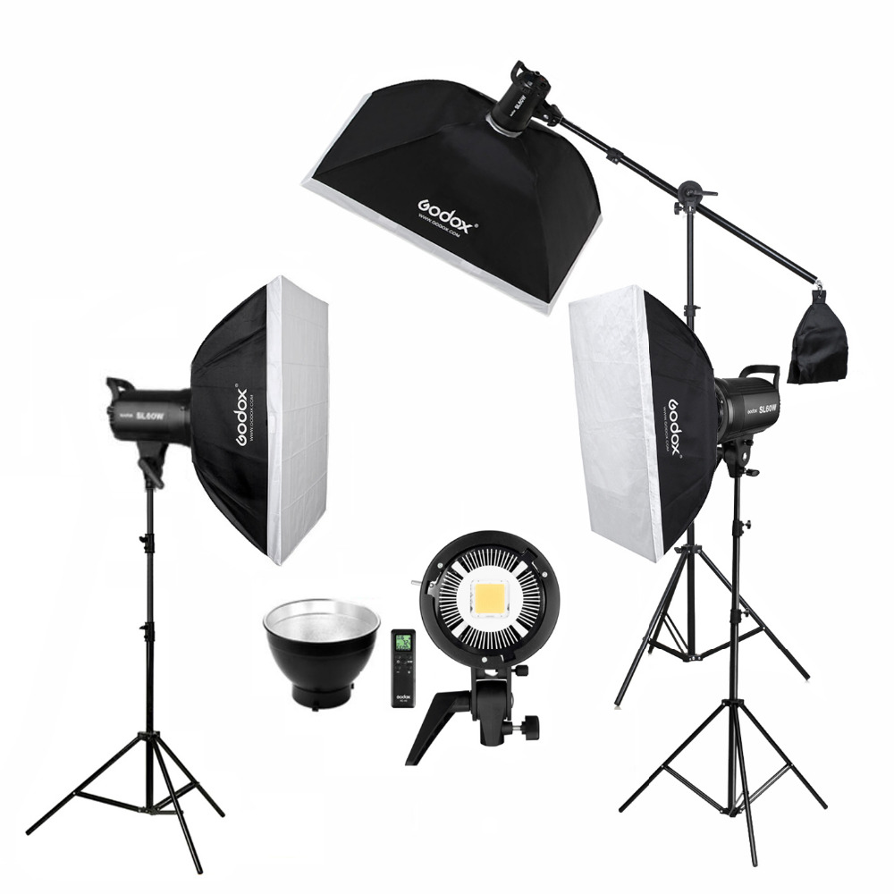 Photo Studio 3pcs X Godox SL-60W CRI 95+ LED Video Light Kit SL60W 5600K + 60x90cm Softbox + 2.8m Stand + Remote Controller