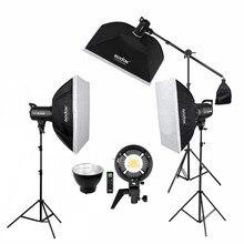 Photo Studio 3 sztuk x Godox SL 60W CRI 95 + światło led do kamery zestaw SL60W 5600K + 60x90cm Softbox + 2.8m stojak + pilot zdalnego sterowania