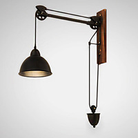 Retro Vintage Iron Black Pulley Wheel LED Wall Lamp, Loft Backdrop Industrial Wall Sconce Wooden Light for Living Room Cafe Bar