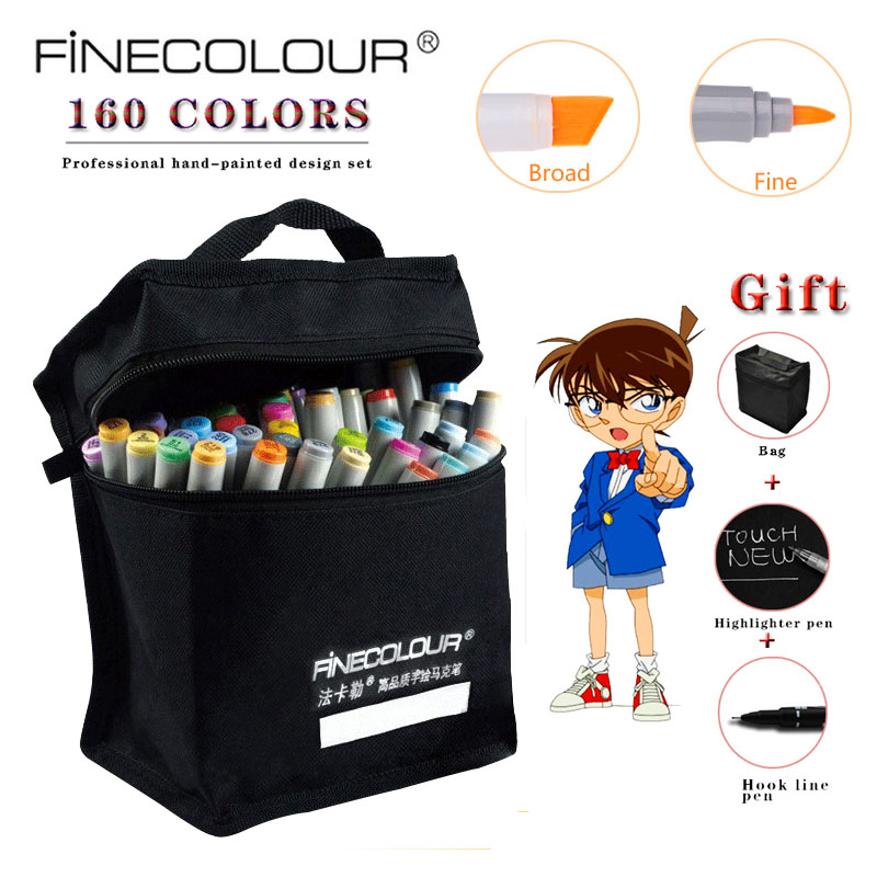 Finecolour 72 Optional Colors Sketch Alcohol Base Marker Double Headed Marker Pen Painting Sketch Art 160 Color Full Marker Pen 80 colors painting art marker pen alcohol marker pen cartoon graffiti dual headed sketch markers set art supplies black white