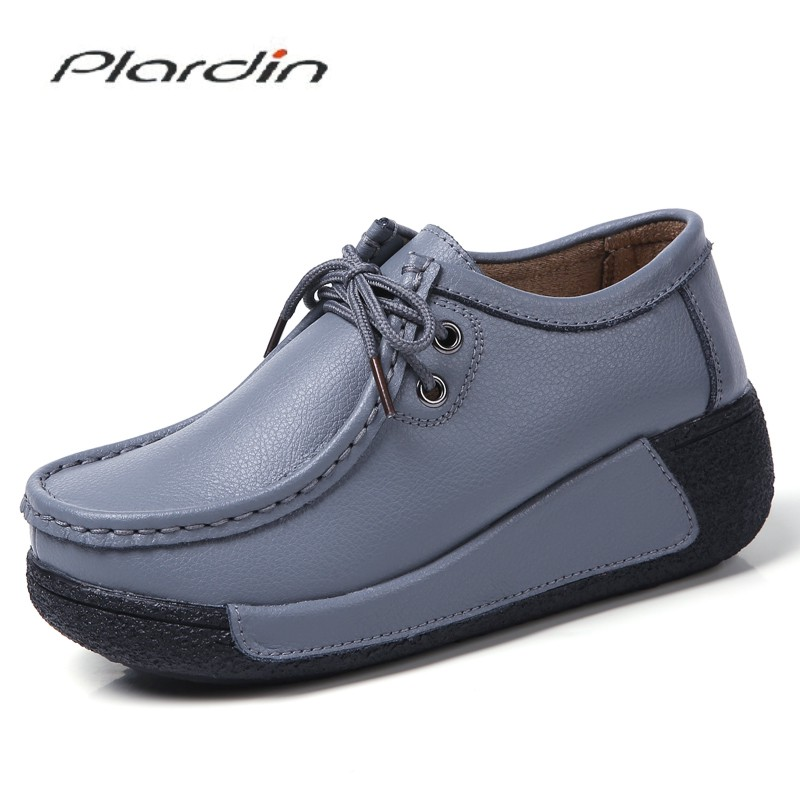 Plardin Cotton Addition Flats Platform Shoes   Suede     Leather   Lace Up Sewing Woman Moccasins Creepers Female Casual Shoes Ladies