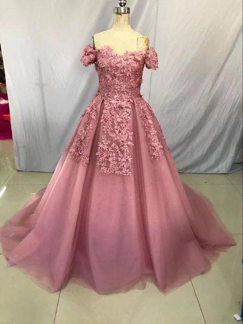 Bateau Short Sleeves Chapel Train Dress Pale Mauve Wedding Dresses