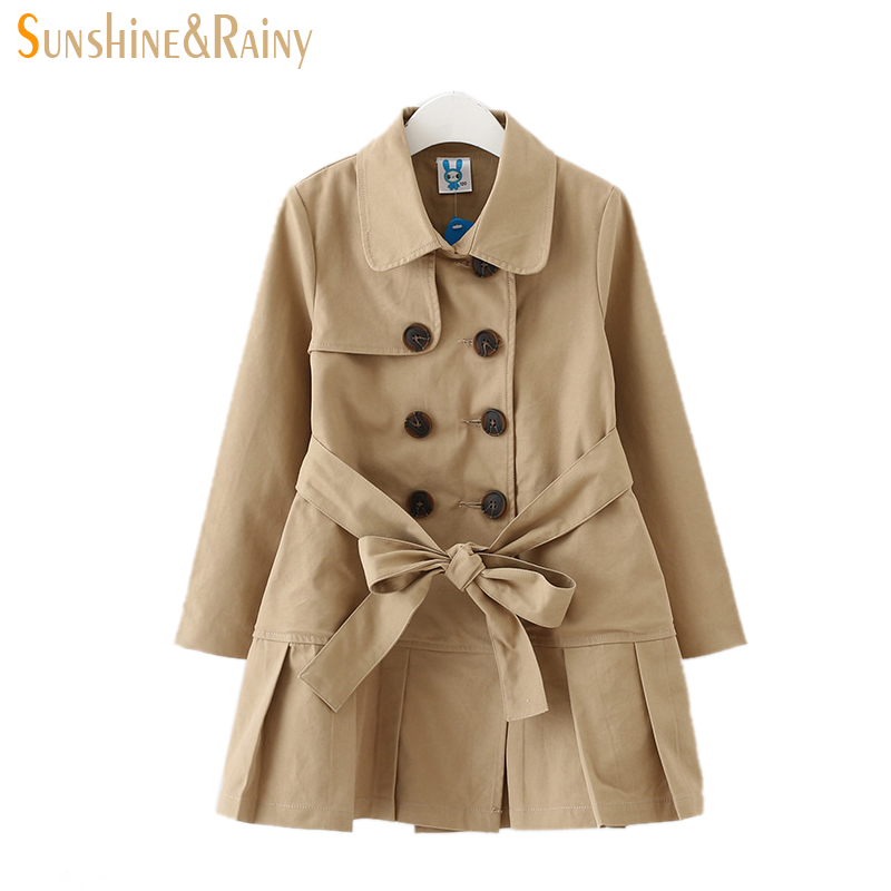 ФОТО 2017 Spring Double-breasted Girls Windbreaker Long Style Kids Trench Coat 4-12 Years Girl Jackets Coats Fashion Children Outwear