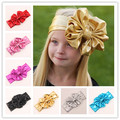 New Baby Girl Large Bow Headband for Hair Metallic Color and Good Elastic Turban Headband Baby Top Knot Headband 10pcs/lot