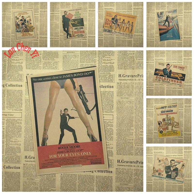 James Bond 007 Series 1 Klasszikus film Kraft papír poszter Vintage nosztalgikus tapéta Gyűjtemény Dekoratív festészet