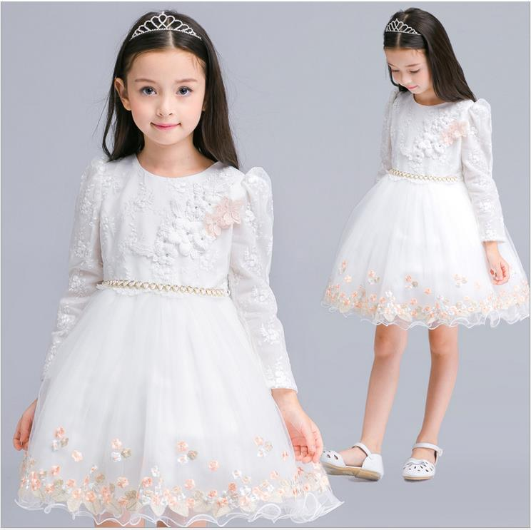 Kids Dresses For Girls Children Clothing Long Sleeve White Lace Wedding Dress Children Princess Prom Dresses 2017 New Year Gifts high quality girls baby bright leaf long sleeve lace dress princess bud silk dresses children s clothing wholesale