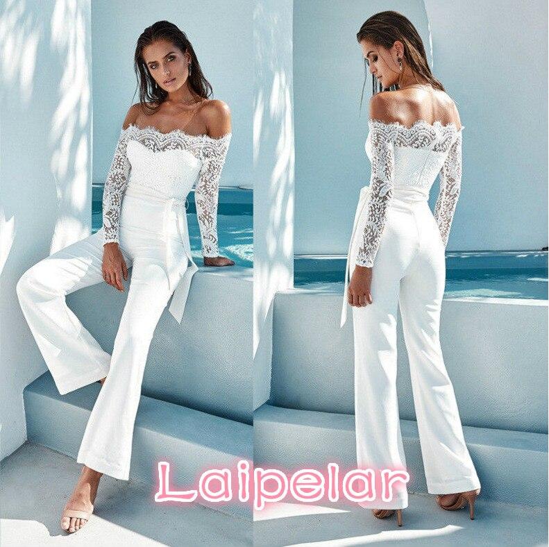 new women spring/autumn jumpsuit sexy off shoulder long sleeve women bodysuit lace patchwork rompers womens jumpsuit Laipelar