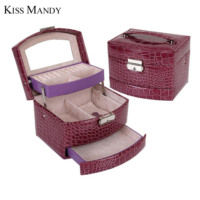 Kiss Mandy New Arrival Fashion High Quality Pu Leather Portable Jewelry Storage Box KSO05