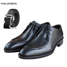 цены MALONEDA Men's Handmade Goodyear Welted Shoes Pure Manul Genuine Leather Oxfords Dress Shoes +Free Leather Belt