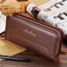 Men's Leather Zipper Clutch Long Wallet Fashion Design Business Purse Card Holder Checkbook New