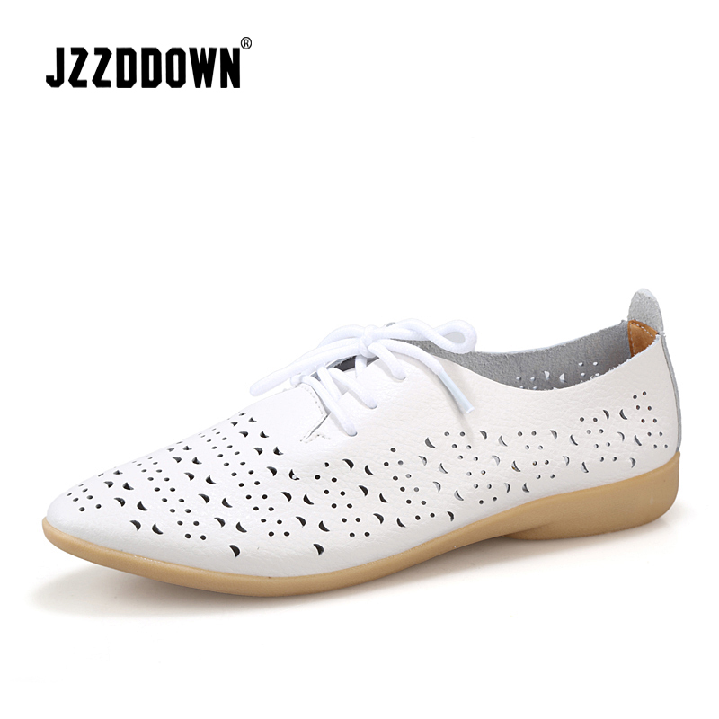Genuine Leather Summer Women Casual Leather Shoes Ladies Flat Oxford Shoes Loafers Shoe 2018 Plus Size Hollow Mother shoe female loafers new lace mother flat shoes fashion shallow mouth ladies peas shoes tendon casual women leather shoes plus size