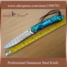 DS059 2016 new damascus steel knife abalone blue shell handle utility camping knife hunting knives