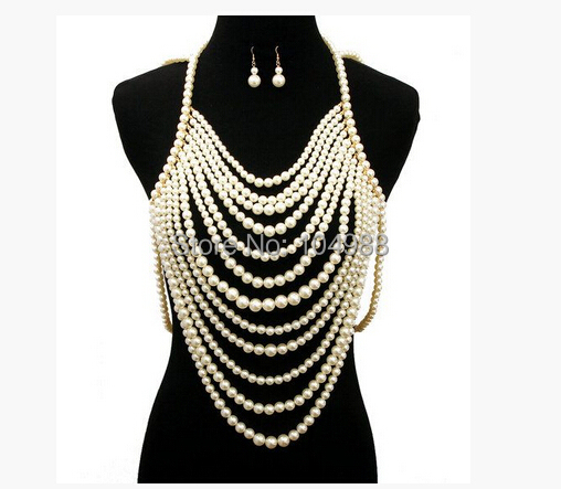 FREE SHIPPING NEW STYLE P21 WOMEN FASHION WHITE IMITATION PEARLS CHAINS JEWELRY FULL BODY BEADS EARRINGS JEWELRY