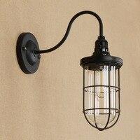 Black Iron Village Vintage Wall Lamp American Aisle Creative Bedroom E27 Bulb wall light restaurant led wall lamp RWL0073|LED Indoor Wall Lamps|Lights & Lighting -