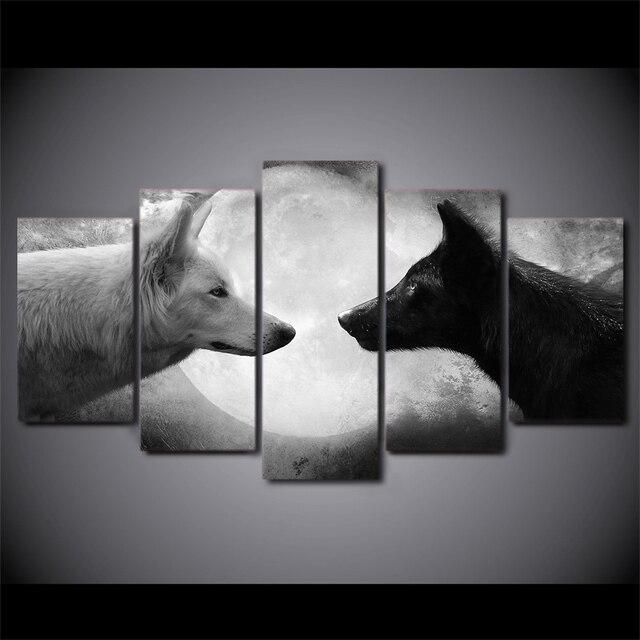 5 panel HD impreso enmarcado blanco y negro lobos animal pared arte ...