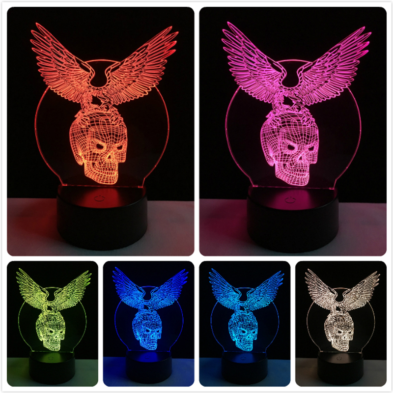 Wholesale Evil Wings Skull Head 3D USB LED Lamp Halloween Decorative - Night Lights - Photo 3
