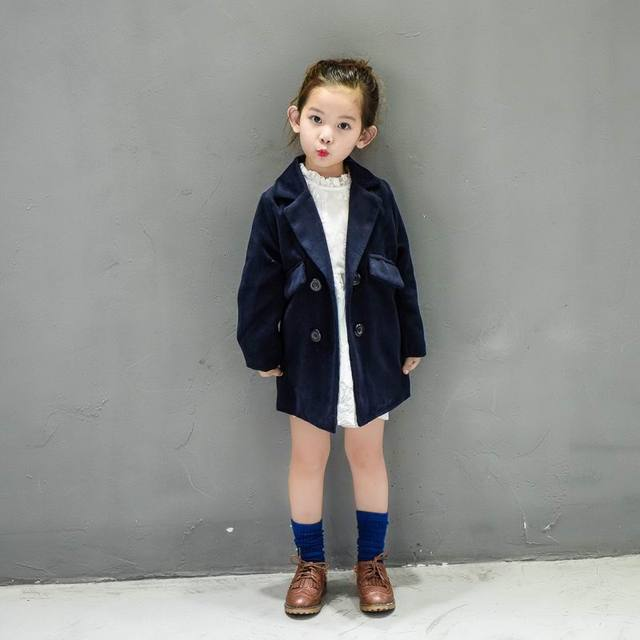 Retail 2016 Winter New Girl Coat Fashion Velour Double-breasted Woolen Long Sleeve Outerwear Children Clothing 2-7Y 58838