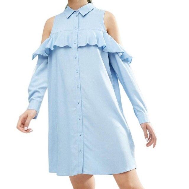 Casual Off Shoulder Long Ruffles Sleeve Shirt Dress Women Plus Size ...